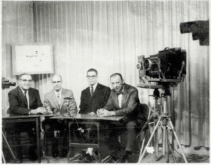 picture of Peter Koch, David Forchheimer and two other men at KVLF studios, Alpine, Texas (pic from Sul Ross State University Archives)