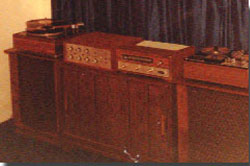 1967 equipment display with Eico amp, Fisher receiver, Atec speakers & Sony 350